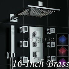"Thermostatic Chrome Brass Shower Faucet LED 16"" Rain W/Massager Body Jets Tap"