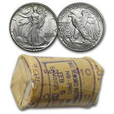 1942-D Walking Liberty Half Dollar 20-Coin Roll BU (Bank Roll)