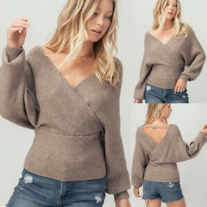 NEW Soft Cozy Mocha Wrap Off Shoulder Dolman Sleeves Fit Waist Knit Sweater Top