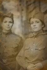 Soviet soldier woman in Uniform Rare Antique Soldier Old War Photo WW2 4x6 W