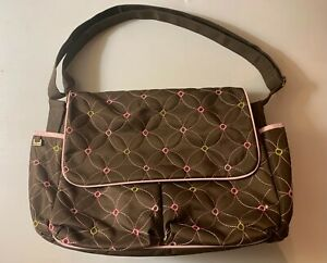 Diaper Bag Brown w/ Embroidered Floral Design by Baby Boom Unisex Large Tote EUC