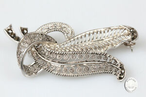 Brooch Silver Double Leaf Marcasite Jewelry Antique Silver Jewellery Ladies