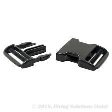 "2 x Scuba Diving BCD DIY Buckle Plastic Black Strap Webbing 50mm 2"" Side Release"