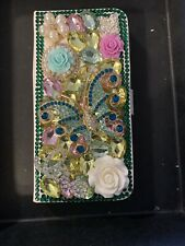 iPhone Xs Wallet Case Cover. 3D. Floral. Bejeweled. It Has 2 Credit Card Slots.