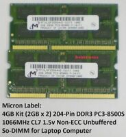 4GB Kit (2GBx2) 204-Pin DDR3 PC3-8500S 1066MHz CL9 SODIMM Laptop - Major Brands