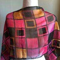 "Mod MCM Mid Century  57"" Geometric Pink Black Orange Oblong Sheer Scarf"