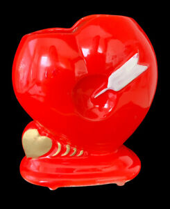 Vintage MCM Relpo 5625 Red & Gold Heart W/Cupid's Arrow Vase Planter - Valentine
