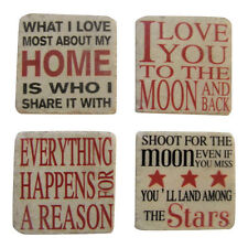 Happy Sayings Resin Square Coasters - Set of 4 - Placemats