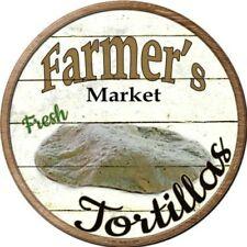 "TORTILLAS Farmers Market 12"" Round Vintage Style Metal Signs Retro Kitchen Decor"