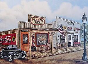 Old CountryTown Print Barber Shop with Coca Cola Sign Old Car and Variety Store