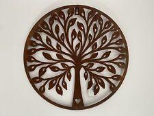 More details for round rustic metal tree wall art - garden decoration rusty indoor outdoor bird