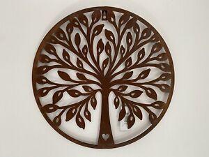 Round Rustic Metal Tree Wall Art - Garden Decoration Rusty Indoor Outdoor Bird
