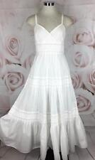 Lauren Ralph Lauren 6 Dress White Tiered Cotton Boho Beach Wedding Romantic