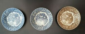 AYNSLEY IRONSTONE ENGLAND'S HERITAGE GREEN HUNTING SCENES DISHES X 3