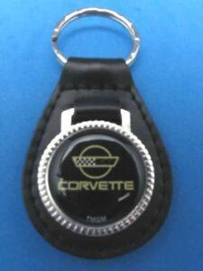 CHEVROLET CORVETTE BLACK LEATHER KEYRING KEYFOB #093