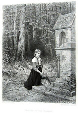 PRETTY YOUNG FARM GIRL PRAYS AT SHRINE IN FOREST 1880 Salentin Art Print Etching