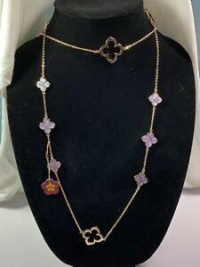 Lauren G Adams Floral Knight Clover Purple Long Necklace