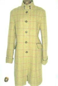 OXFORD BLUE Tweed coat 14 Palest Lichen green -red overcheck.Teflon waterproofed
