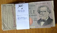 LOTTO 100 BANCONOTE LIRE 1000 VERDI II TIPO mazzetta NUMISMATICA SUBALPINA