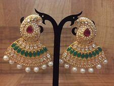 New Indian Pakistani Ethnic Gold Plate Crystal GreenPink Jhumki Bali Drop Earing