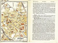Bourges 1894 pt plan ville orig. + guide angl. (4 p) Auron St-Ambroix Ursulines