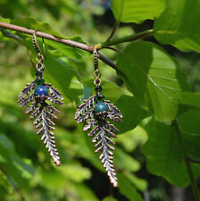 Fern leaf earrings copper Swarovski Chrysocolla boho elf witch forest nature