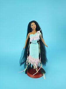 Vtg 90s Mattel Disney Shining Braids Pocahontas Doll Black Hair + Outfit VGUC