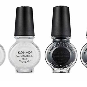 Konad Stamping Nail Art  White S01 & Black S25 11ml Special Polish DIY No.1 UK