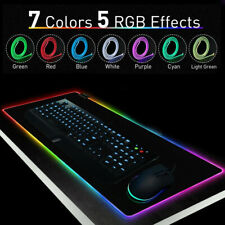 Large RGB Colorful LED Lighting Gaming Mouse Pad Mat 800*300mm for PC Laptop UK