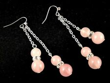 Rose Quartz Gemstone Platinum Plated Dangle Earrings & Rhinestones Beads # 899