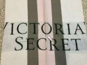 Victoria's Secret 2016 Pink Gray White Striped Fringed Throw Soft New With Tags