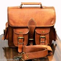 Mens Genuine Leather Vintage Laptop Backpack Rucksack Messenger Bag Satchel
