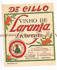 Unused 1940s BRASIL Sao Paulo Piracicaba Vinho Cillos De Laranja Licoroso Label