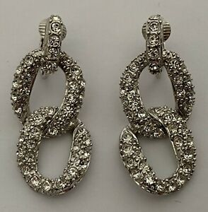 NWT Givenchy Pave Crystal Curb Chain Link Silver Tone Dangle Drop Clip Earrings