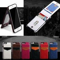 Slim Leather Wallet Credit Card Holder Stand Back Case Cover For iPhone XR 7 6 +