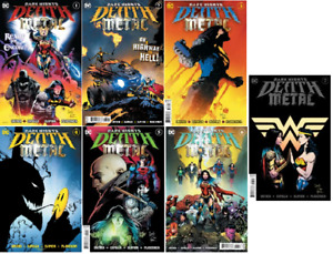 (2020) BATMAN DARK NIGHTS DEATH METAL #1-7 FOIL EMBOSED COVER COMPLETE SET!