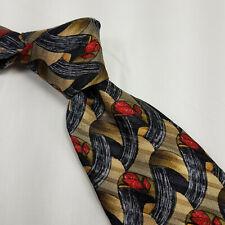 Robert Talbott Studio Mens Silk Tie Short Geometric Gold Blue Red Shapes 56.5L