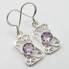 "925 Solid Silver AMETHYST Traditional Dangle Earrings 1.2"" ! February Birthstone"