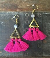 One Of A Kind Fuchsia Pink Tassel Triangle Brass Zebra Jasper Gold Hook Earrings