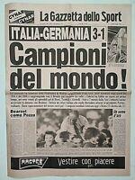 GAZZETTA DELLO SPORT ORIGINALE 12 LUGLIO 1982 ITALIA CAMPIONE DEL MONDO SPAGNA 7