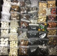 8+ POUNDS OF BEADS JEWELRY MAKING SUPPLIES CRAFTS PLASTIC WOOD METAL GLASS SHELL