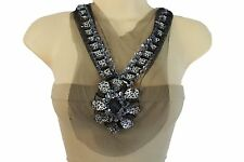 Women Black Lace Long Satin Tie Strands Necklace Leopard Beaads Silver Sequins