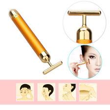 24k Gold Beauty Bar Facial Roller Face Skin Vibration Skincare Massager Device