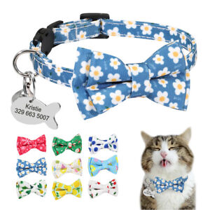 Cute Cat Personalised Breakaway Collar Custom ID Name Number Tag with Bell Puppy