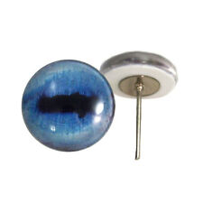 Pair of 12mm Blue Goat Glass Eyes on Wire Pin Posts for Felt Doll Making