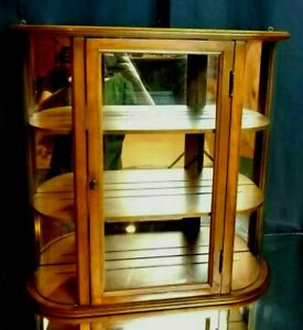 GORGEOUS! Antique 3-Shelf Wall-Hanging Curio Case CURVED GLASS Cabinet Mirror