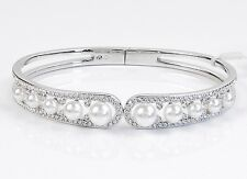 ELIOT DANORI by Nadri Alhambra Clear Pave Faux Pearl Hinged Cuff Bracelet $110