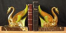 Serres-livres cygnes en bronze doré vers c 1950  Bookends Buchstützen Swan 书挡天鹅