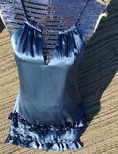new &448 BCBG MAX AZRIA china blue silk sequin ruffle cocktail DRESS 6 s