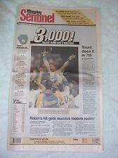 Robin Yount 3,000 Career Hit -- Original Milwaukee Newspaper